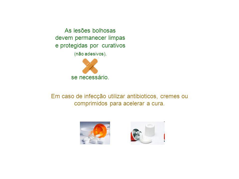 As lesões bolhosas devem permanecer limpas e protegidas por curativos (não adesivos), se necessário.