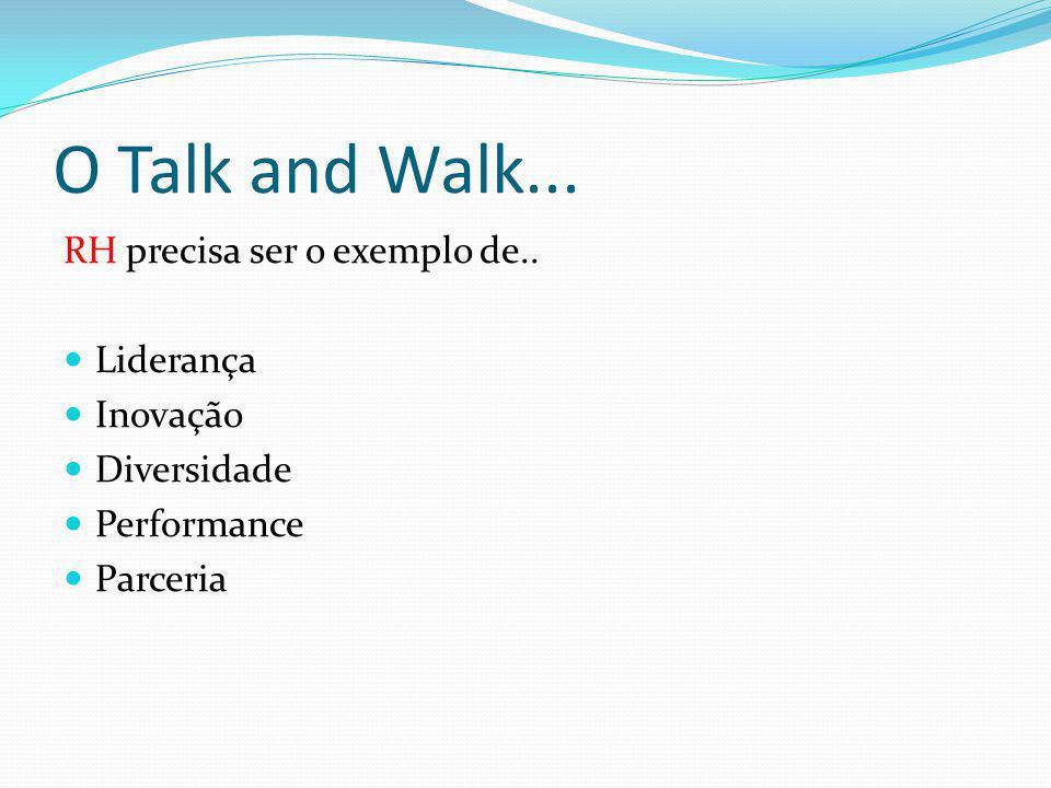 O Talk and Walk... RH precisa ser o exemplo de.. Liderança Inovação