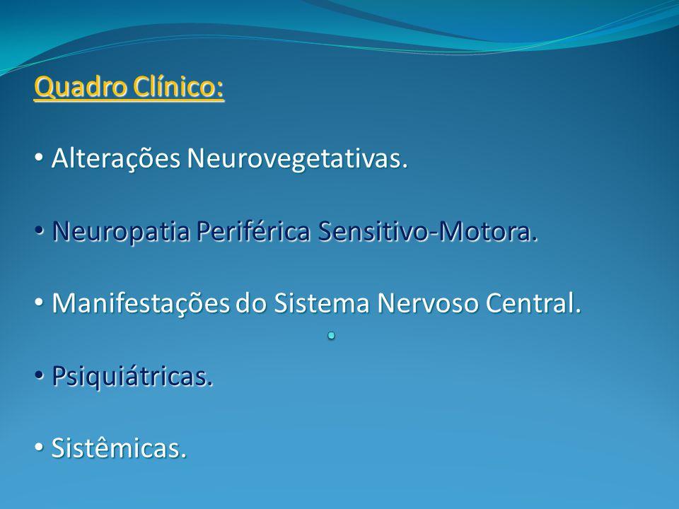 . Quadro Clínico: Alterações Neurovegetativas.