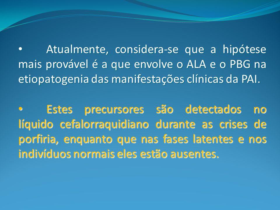 Atualmente, considera-se que a hipótese mais provável é a que envolve o ALA e o PBG na etiopatogenia das manifestações clínicas da PAI.