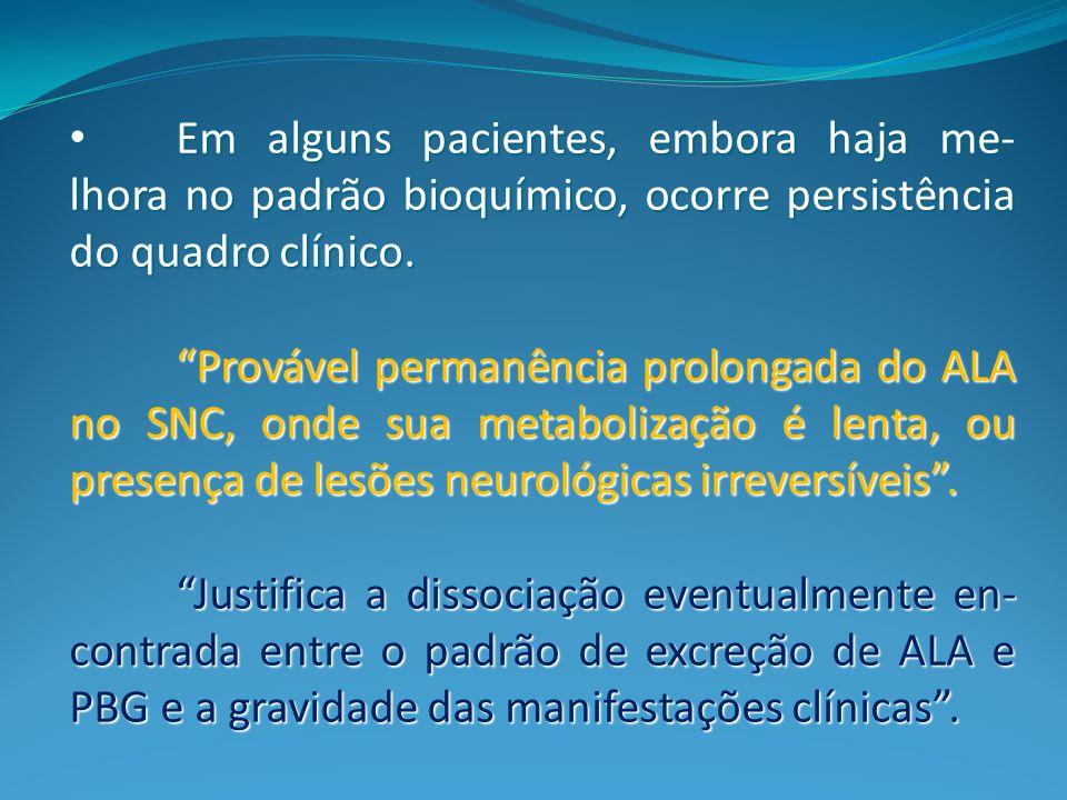 Em alguns pacientes, embora haja me-lhora no padrão bioquímico, ocorre persistência do quadro clínico.