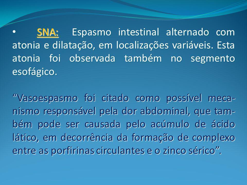 SNA: Espasmo intestinal alternado com atonia e dilatação, em localizações variáveis. Esta atonia foi observada também no segmento esofágico.
