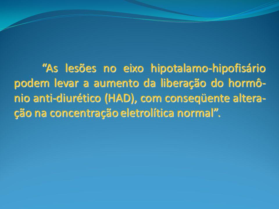 As lesões no eixo hipotalamo-hipofisário podem levar a aumento da liberação do hormô-nio anti-diurético (HAD), com conseqüente altera-ção na concentração eletrolítica normal .
