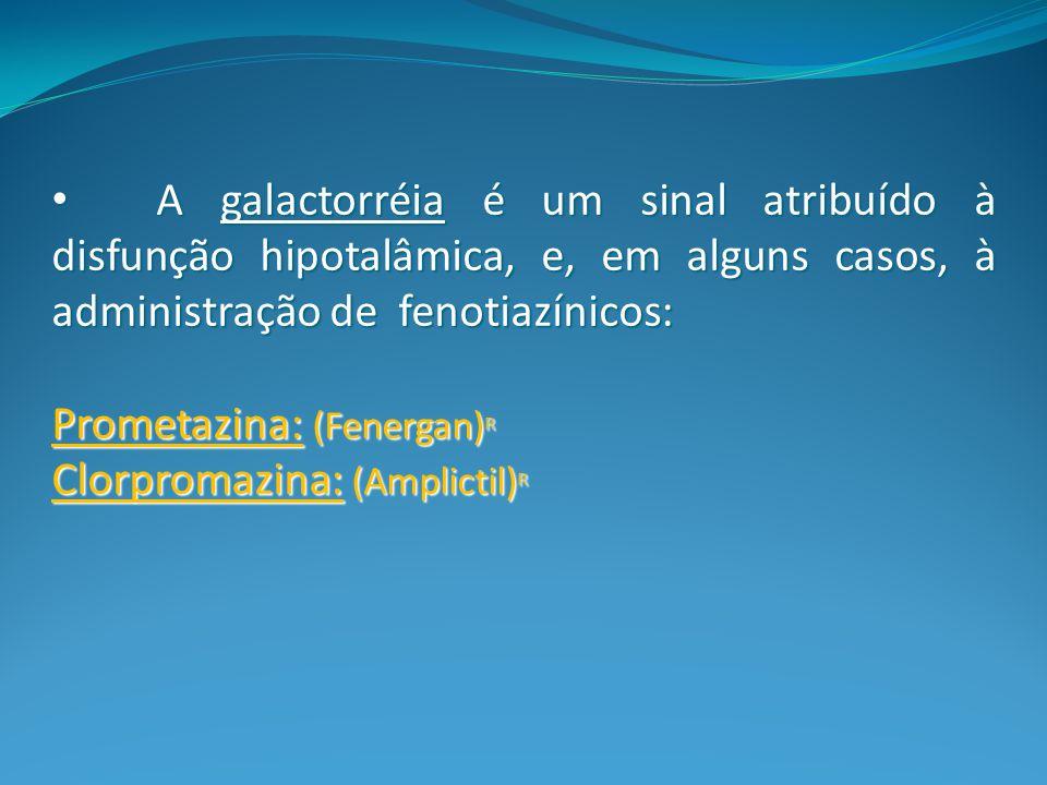 A galactorréia é um sinal atribuído à disfunção hipotalâmica, e, em alguns casos, à administração de fenotiazínicos: