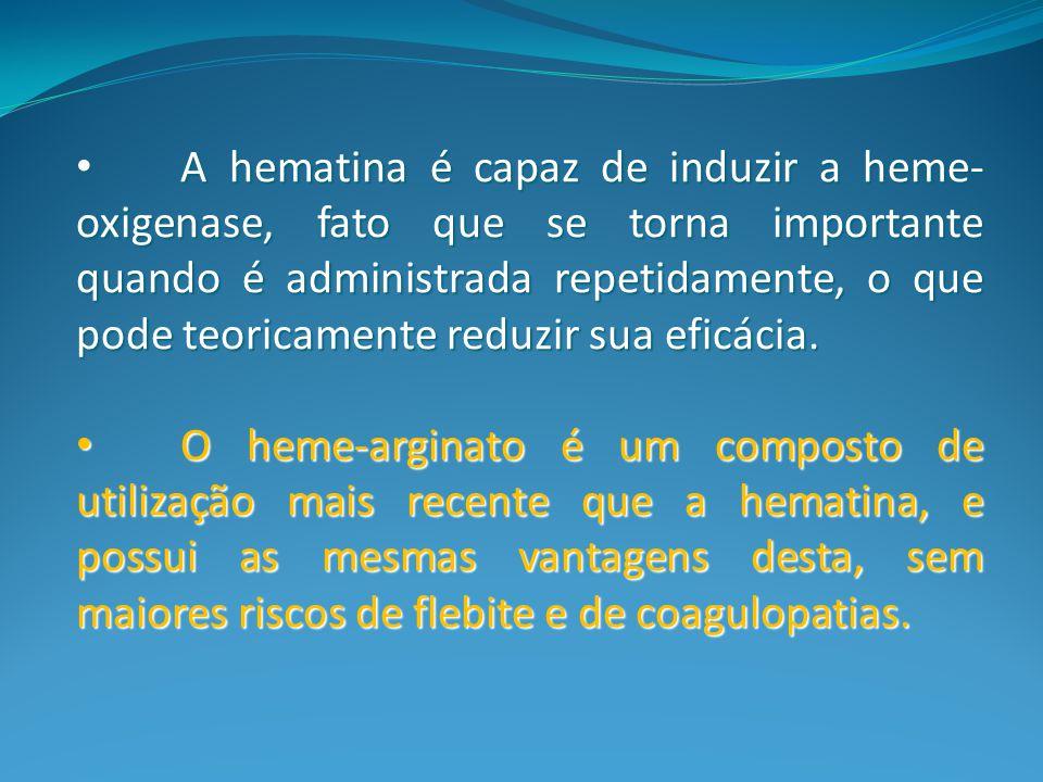 A hematina é capaz de induzir a heme-oxigenase, fato que se torna importante quando é administrada repetidamente, o que pode teoricamente reduzir sua eficácia.