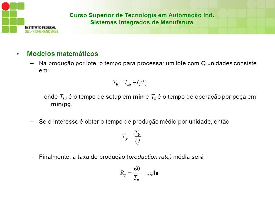Modelos matemáticos Na produção por lote, o tempo para processar um lote com Q unidades consiste em: