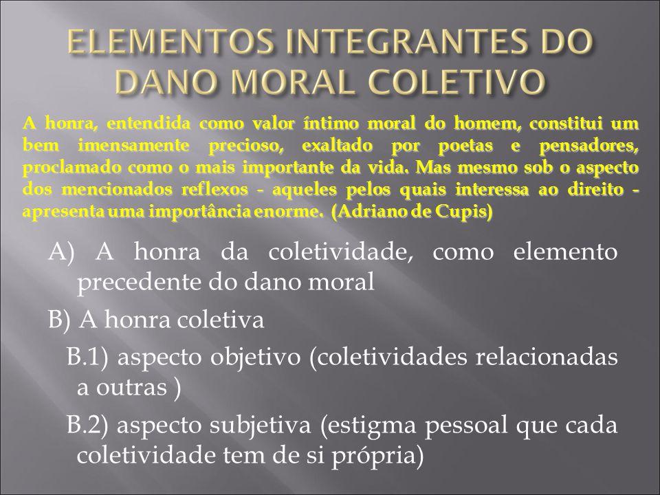 A) A honra da coletividade, como elemento precedente do dano moral