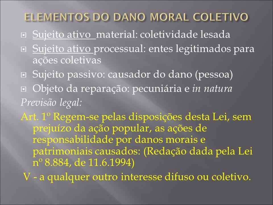 Sujeito ativo material: coletividade lesada