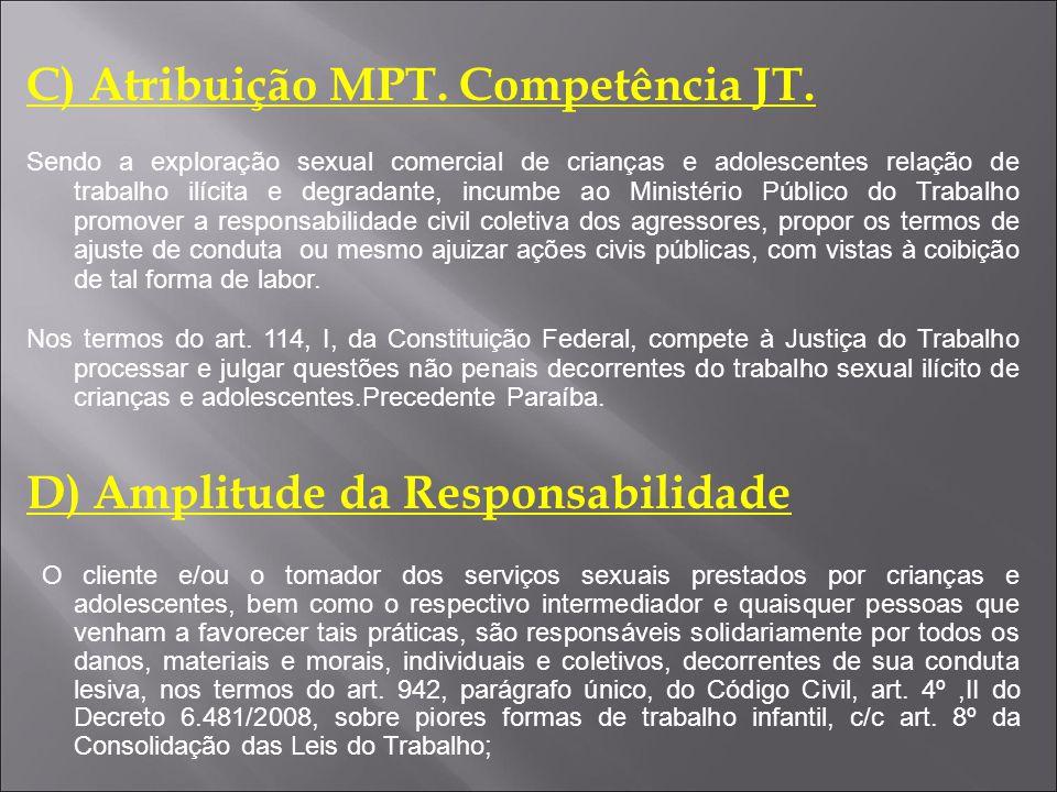 C) Atribuição MPT. Competência JT.