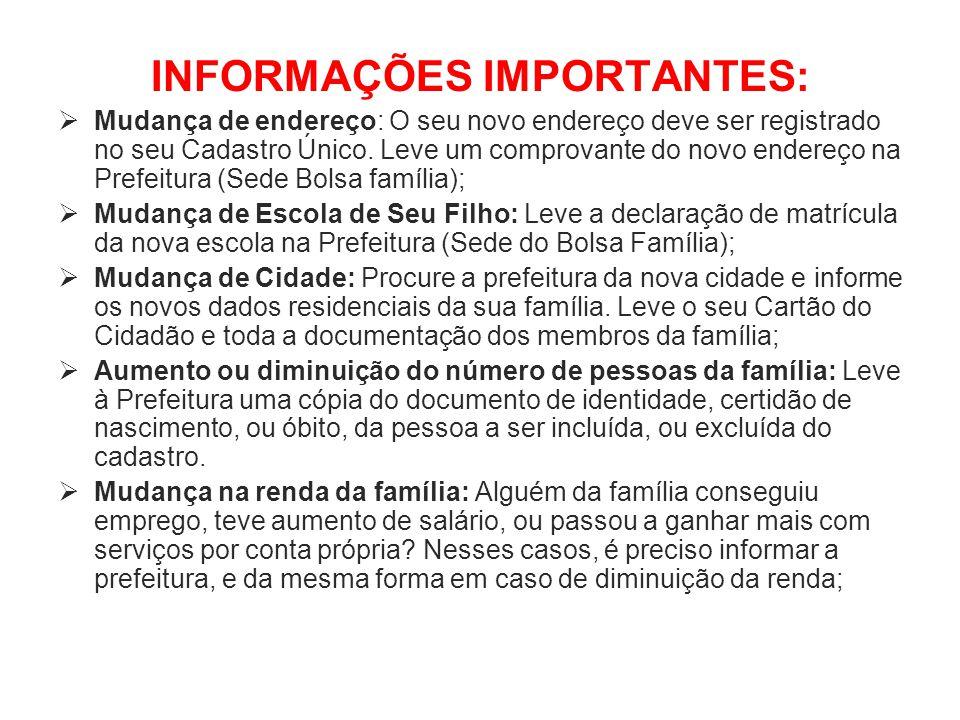 INFORMAÇÕES IMPORTANTES: