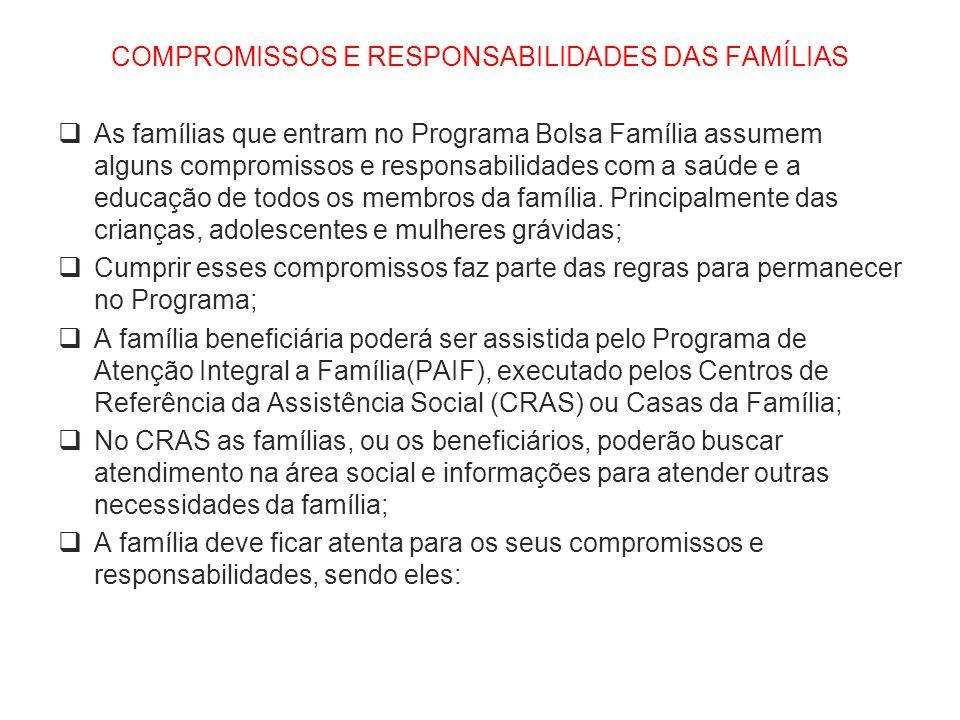 COMPROMISSOS E RESPONSABILIDADES DAS FAMÍLIAS