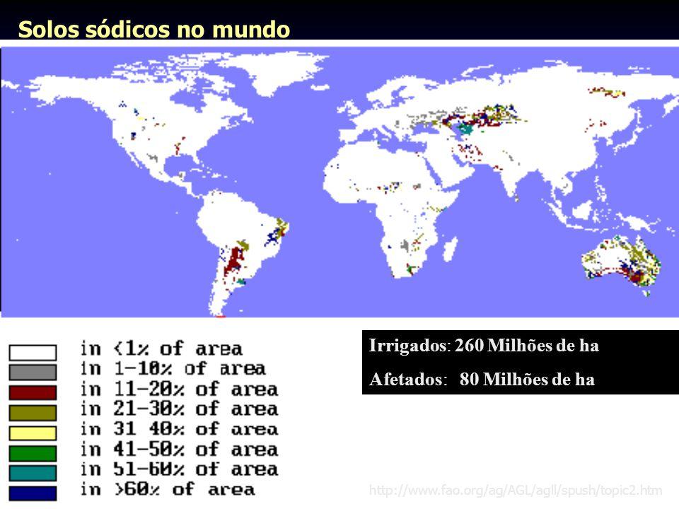 Solos sódicos no mundo Irrigados: 260 Milhões de ha