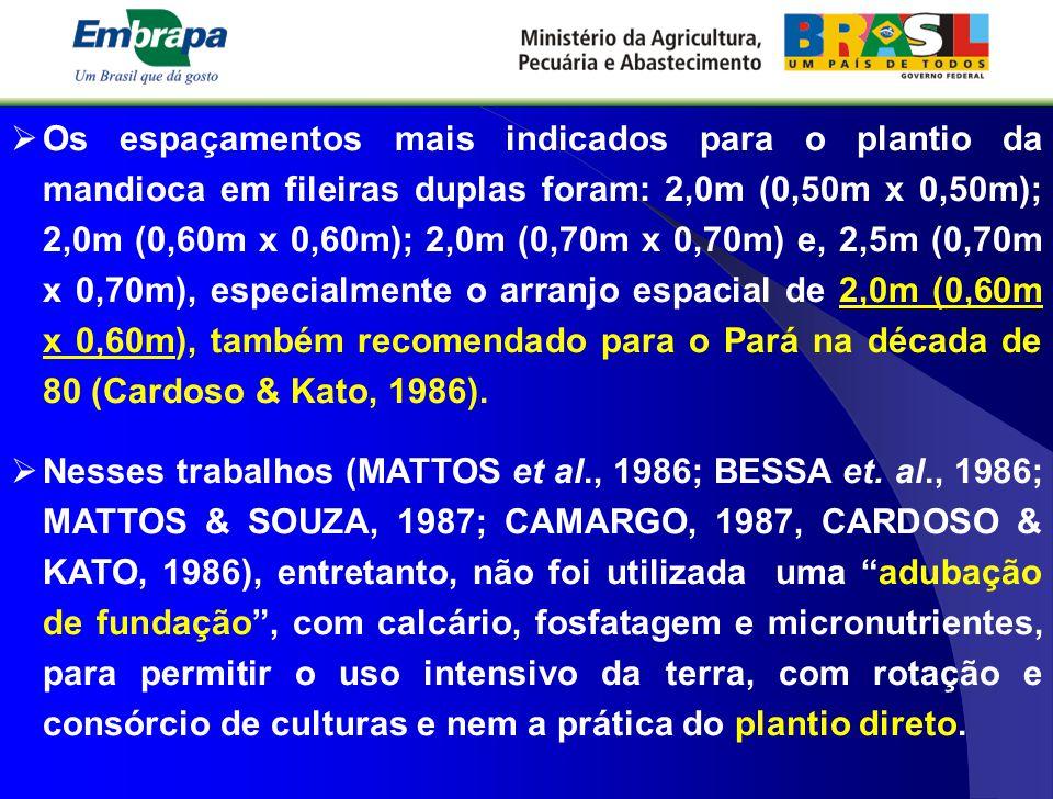 Os espaçamentos mais indicados para o plantio da mandioca em fileiras duplas foram: 2,0m (0,50m x 0,50m); 2,0m (0,60m x 0,60m); 2,0m (0,70m x 0,70m) e, 2,5m (0,70m x 0,70m), especialmente o arranjo espacial de 2,0m (0,60m x 0,60m), também recomendado para o Pará na década de 80 (Cardoso & Kato, 1986).