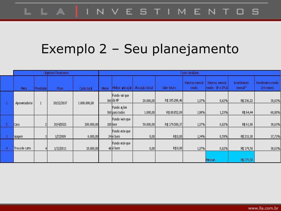 Exemplo 2 – Seu planejamento