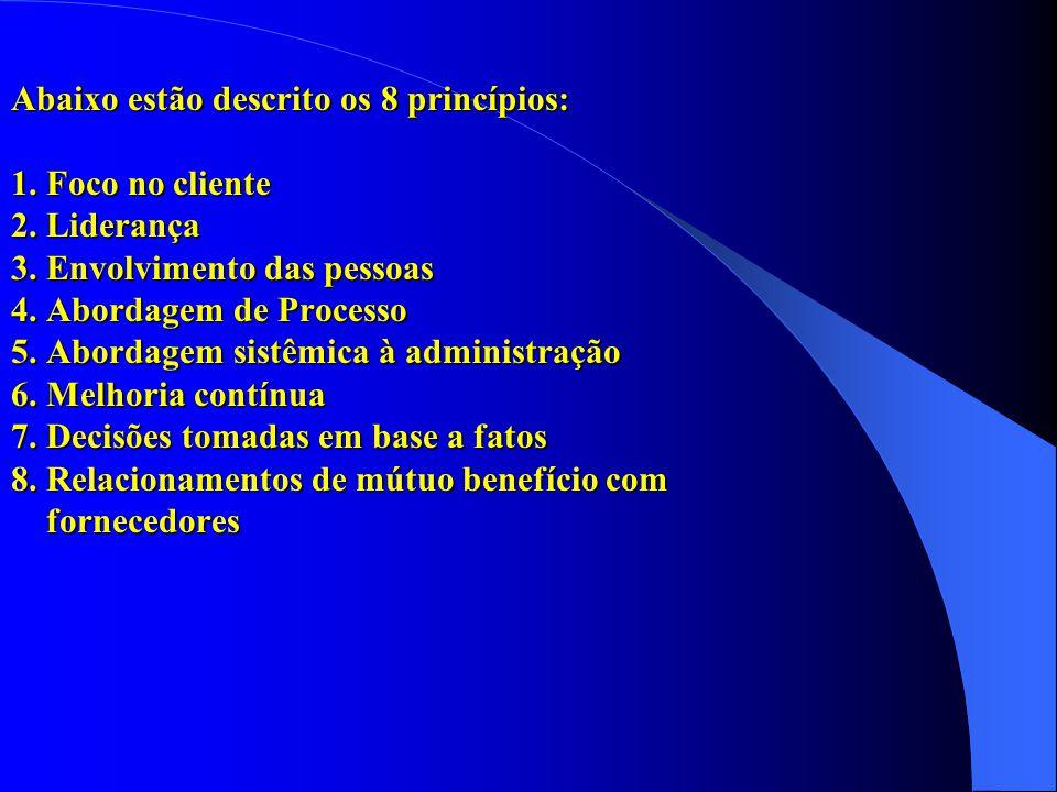 Abaixo estão descrito os 8 princípios: 1. Foco no cliente 2