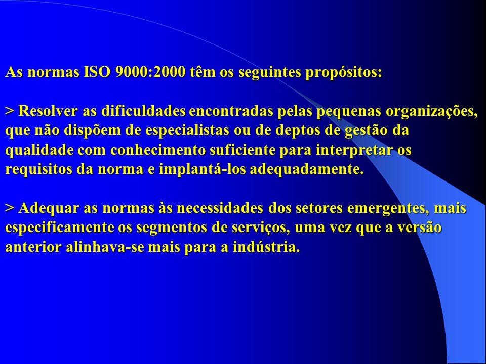 As normas ISO 9000:2000 têm os seguintes propósitos: > Resolver as dificuldades encontradas pelas pequenas organizações, que não dispõem de especialistas ou de deptos de gestão da qualidade com conhecimento suficiente para interpretar os requisitos da norma e implantá-los adequadamente.