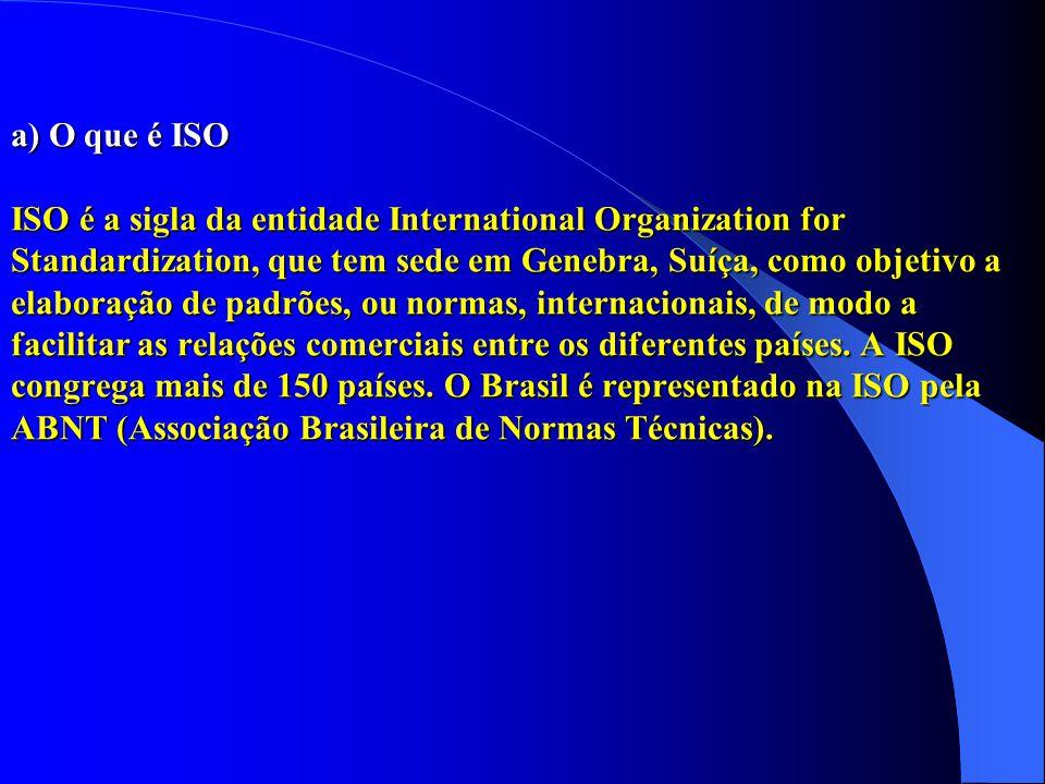 a) O que é ISO ISO é a sigla da entidade International Organization for Standardization, que tem sede em Genebra, Suíça, como objetivo a elaboração de padrões, ou normas, internacionais, de modo a facilitar as relações comerciais entre os diferentes países.