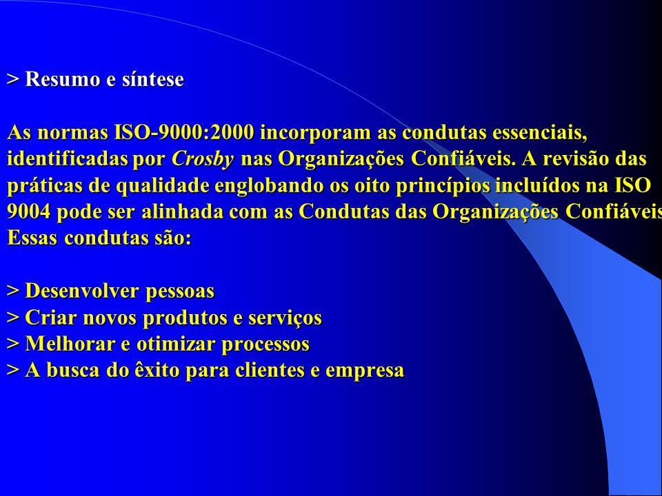 > Resumo e síntese As normas ISO-9000:2000 incorporam as condutas essenciais, identificadas por Crosby nas Organizações Confiáveis.