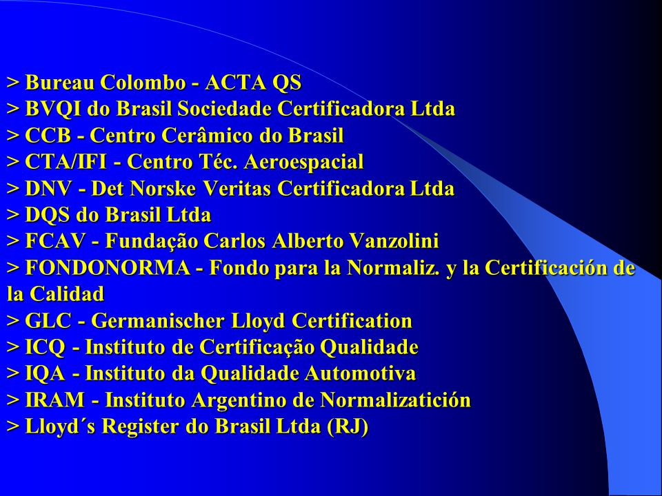 > Bureau Colombo - ACTA QS > BVQI do Brasil Sociedade Certificadora Ltda > CCB - Centro Cerâmico do Brasil > CTA/IFI - Centro Téc.