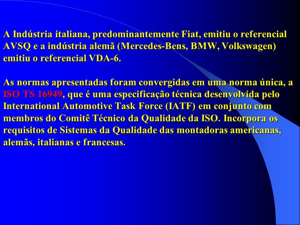 A Indústria italiana, predominantemente Fiat, emitiu o referencial AVSQ e a indústria alemã (Mercedes-Bens, BMW, Volkswagen) emitiu o referencial VDA-6.