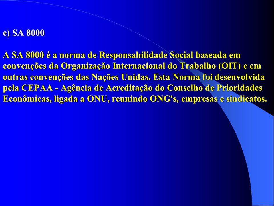 e) SA 8000 A SA 8000 é a norma de Responsabilidade Social baseada em convenções da Organização Internacional do Trabalho (OIT) e em outras convenções das Nações Unidas.