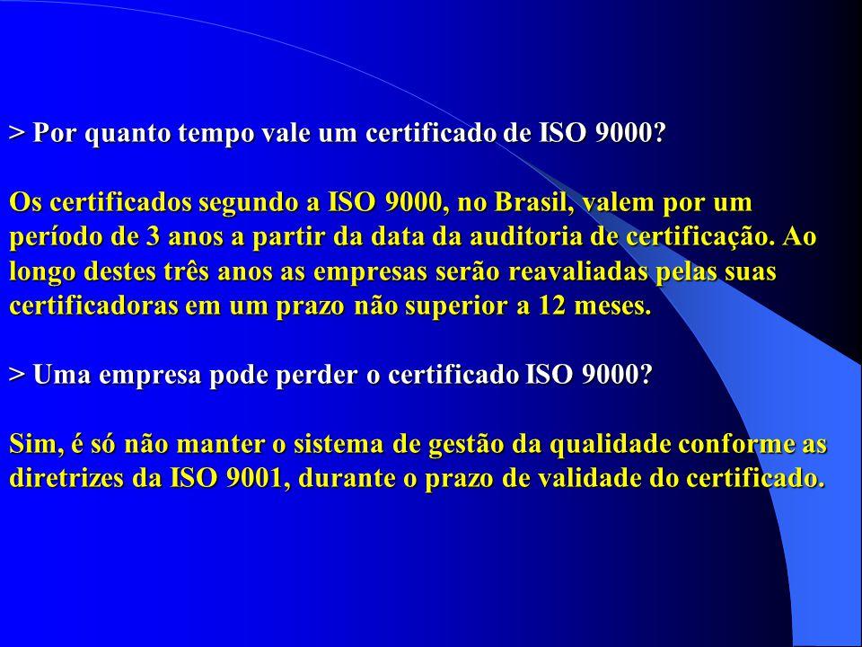 > Por quanto tempo vale um certificado de ISO 9000