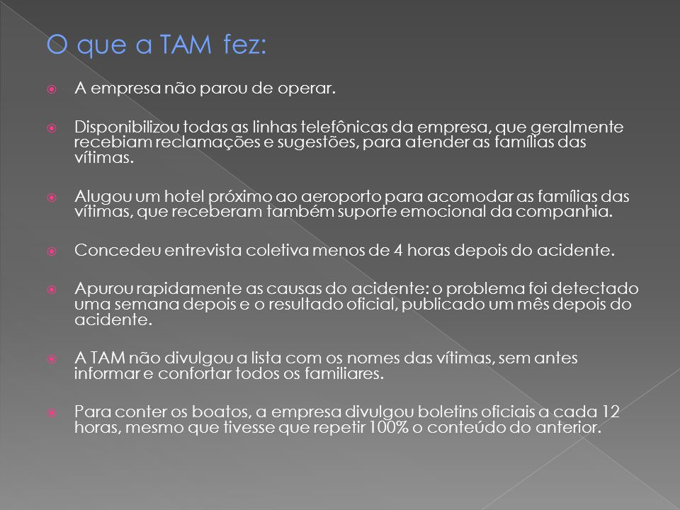 O que a TAM fez: A empresa não parou de operar.