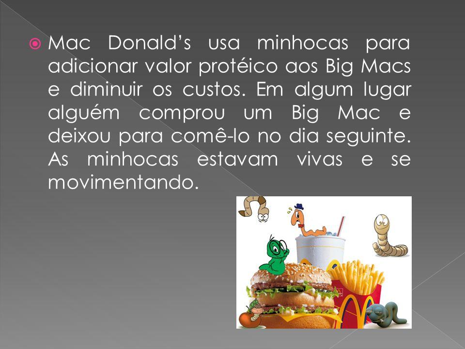 Mac Donald's usa minhocas para adicionar valor protéico aos Big Macs e diminuir os custos.
