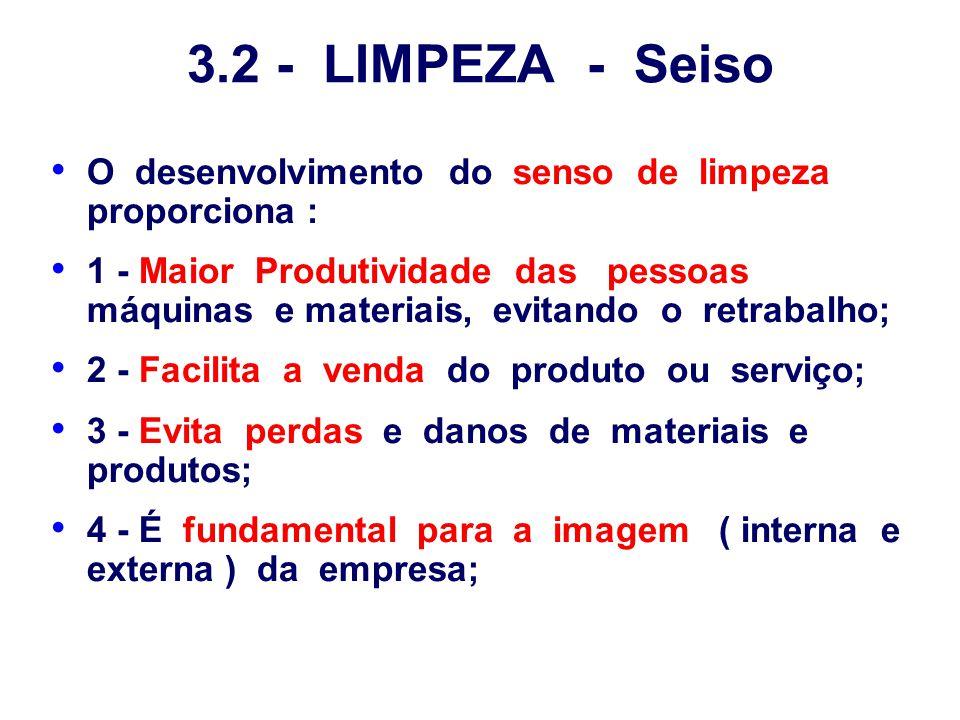 3.2 - LIMPEZA - Seiso O desenvolvimento do senso de limpeza proporciona :