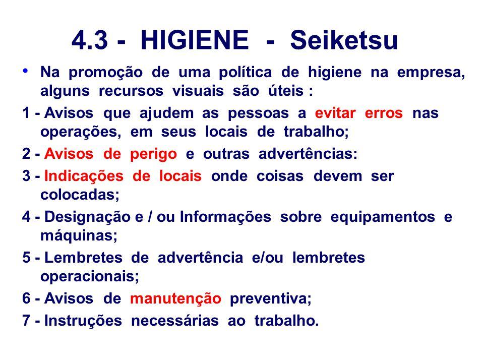 4.3 - HIGIENE - Seiketsu Na promoção de uma política de higiene na empresa, alguns recursos visuais são úteis :