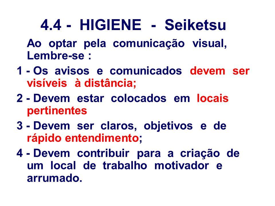 4.4 - HIGIENE - Seiketsu Ao optar pela comunicação visual, Lembre-se :