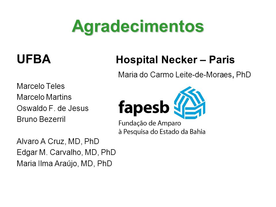 Agradecimentos UFBA Hospital Necker – Paris