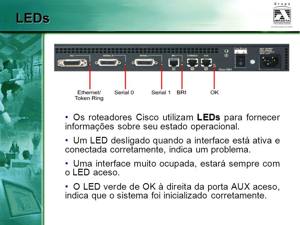 LEDs Os roteadores Cisco utilizam LEDs para fornecer informações sobre seu estado operacional.