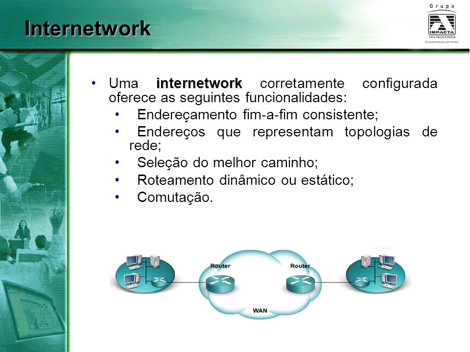 Internetwork Uma internetwork corretamente configurada oferece as seguintes funcionalidades: Endereçamento fim-a-fim consistente;