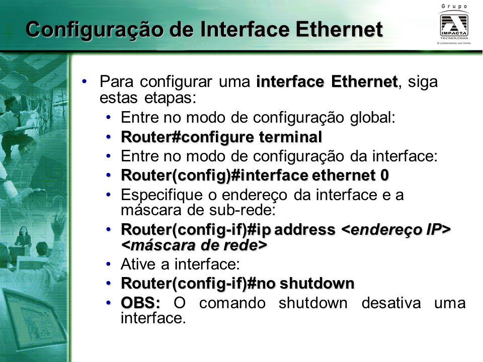 Configuração de Interface Ethernet