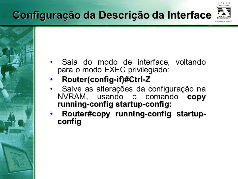 Configuração da Descrição da Interface
