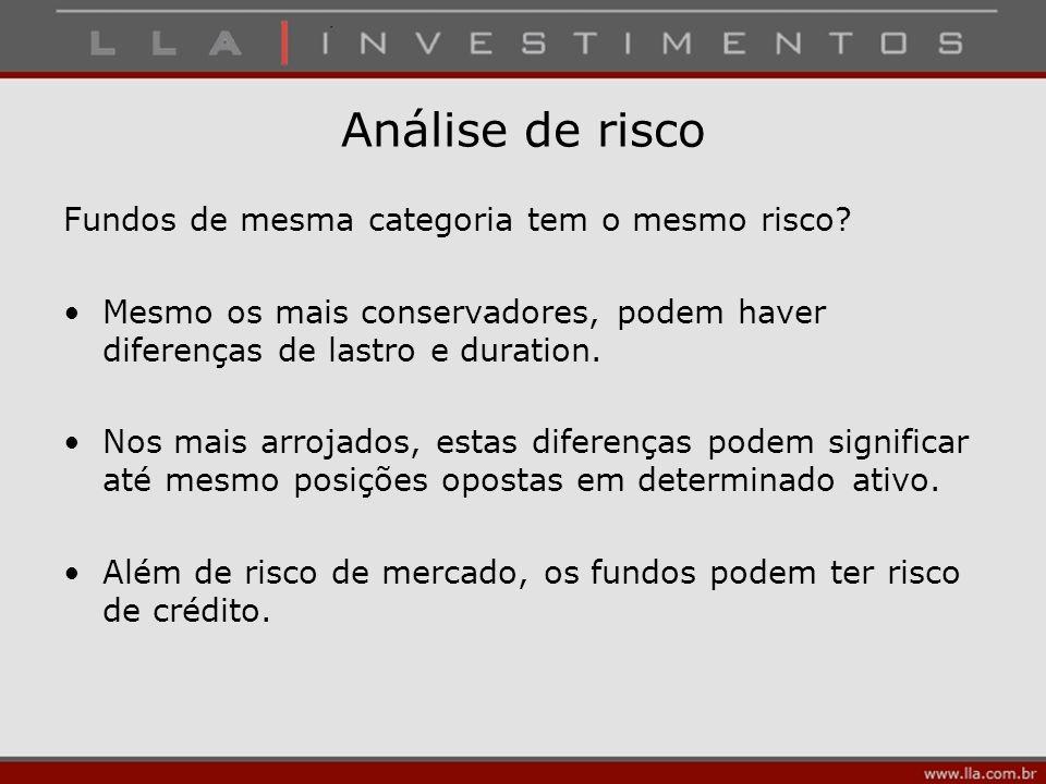 Análise de risco Fundos de mesma categoria tem o mesmo risco