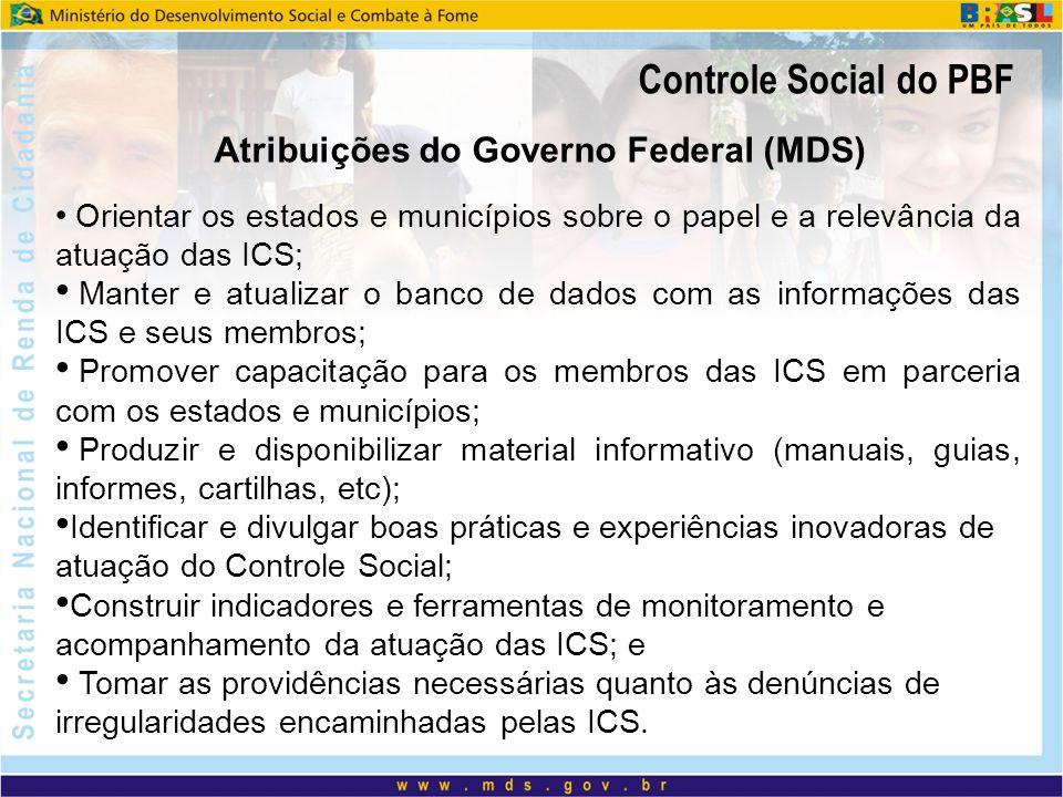 Atribuições do Governo Federal (MDS)