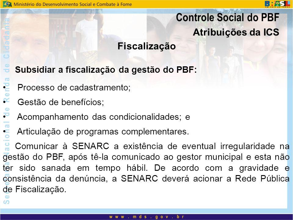 Controle Social do PBF Atribuições da ICS Fiscalização