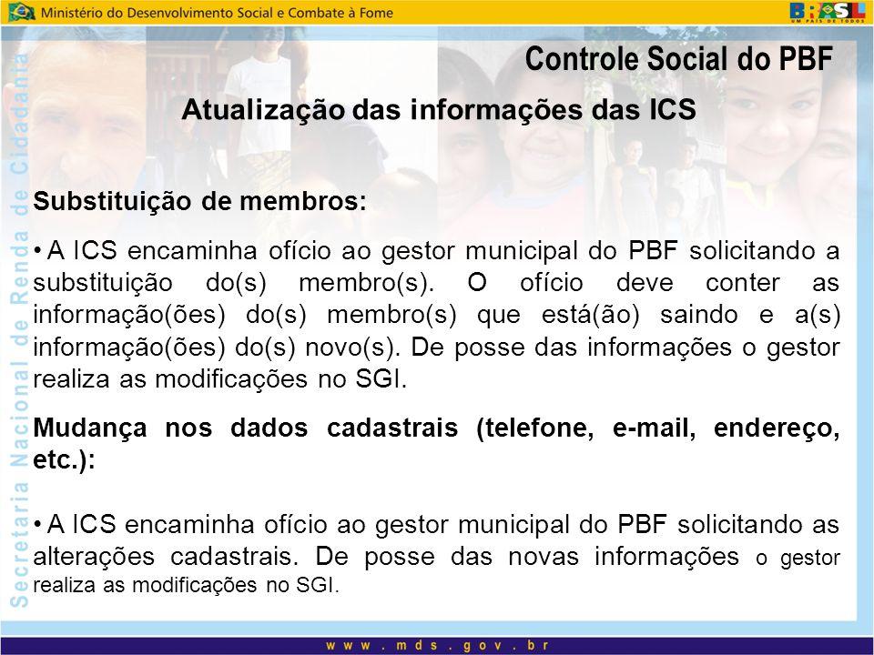 Atualização das informações das ICS