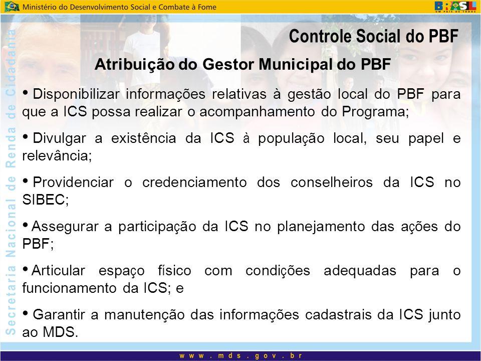 Atribuição do Gestor Municipal do PBF