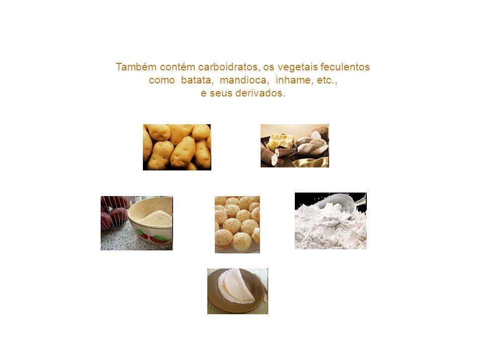 Também contém carboidratos, os vegetais feculentos como batata, mandioca, inhame, etc., e seus derivados.