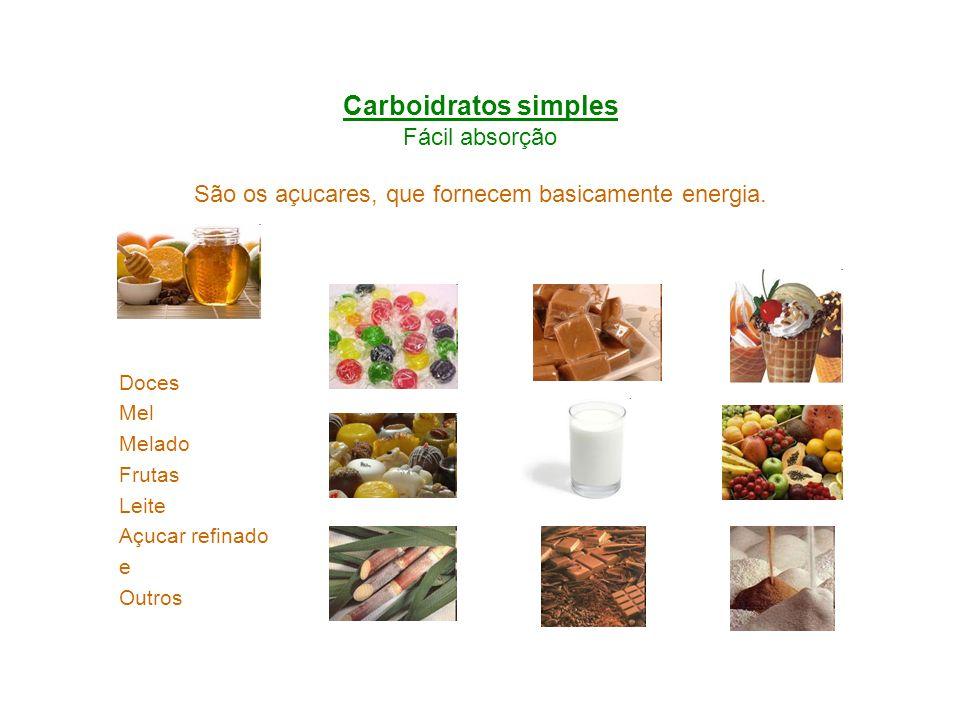 Carboidratos simples Fácil absorção São os açucares, que fornecem basicamente energia.