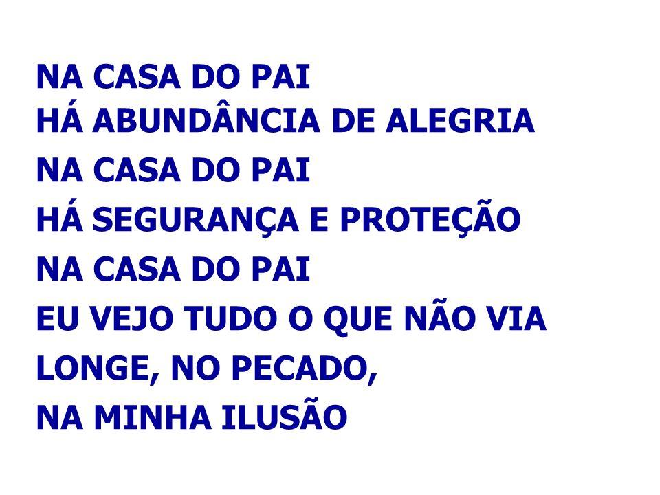 NA CASA DO PAI HÁ ABUNDÂNCIA DE ALEGRIA. HÁ SEGURANÇA E PROTEÇÃO. EU VEJO TUDO O QUE NÃO VIA. LONGE, NO PECADO,