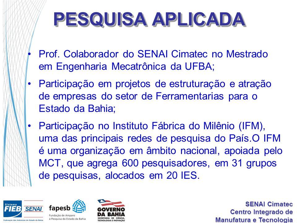 PESQUISA APLICADA Prof. Colaborador do SENAI Cimatec no Mestrado em Engenharia Mecatrônica da UFBA;