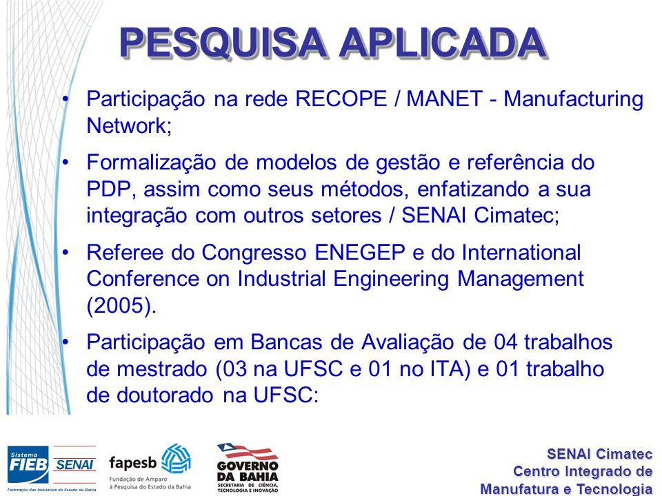 PESQUISA APLICADA Participação na rede RECOPE / MANET - Manufacturing Network;