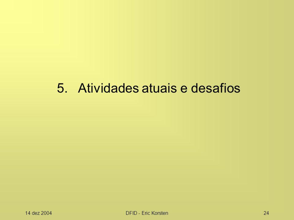 5. Atividades atuais e desafios