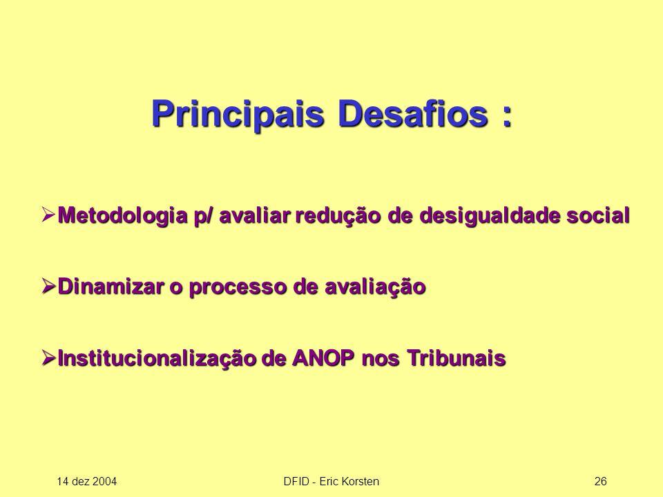 Principais Desafios : Metodologia p/ avaliar redução de desigualdade social. Dinamizar o processo de avaliação.
