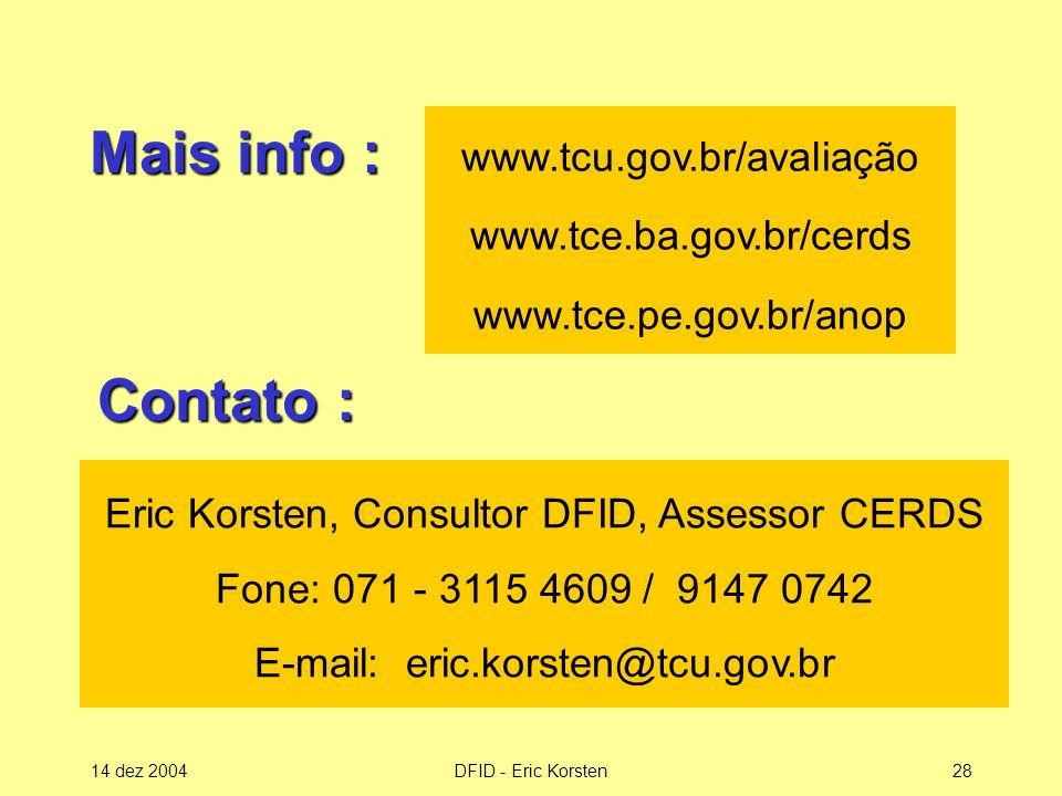 www. tcu. gov. br/avaliação www. tce. ba. gov. br/cerds www. tce. pe