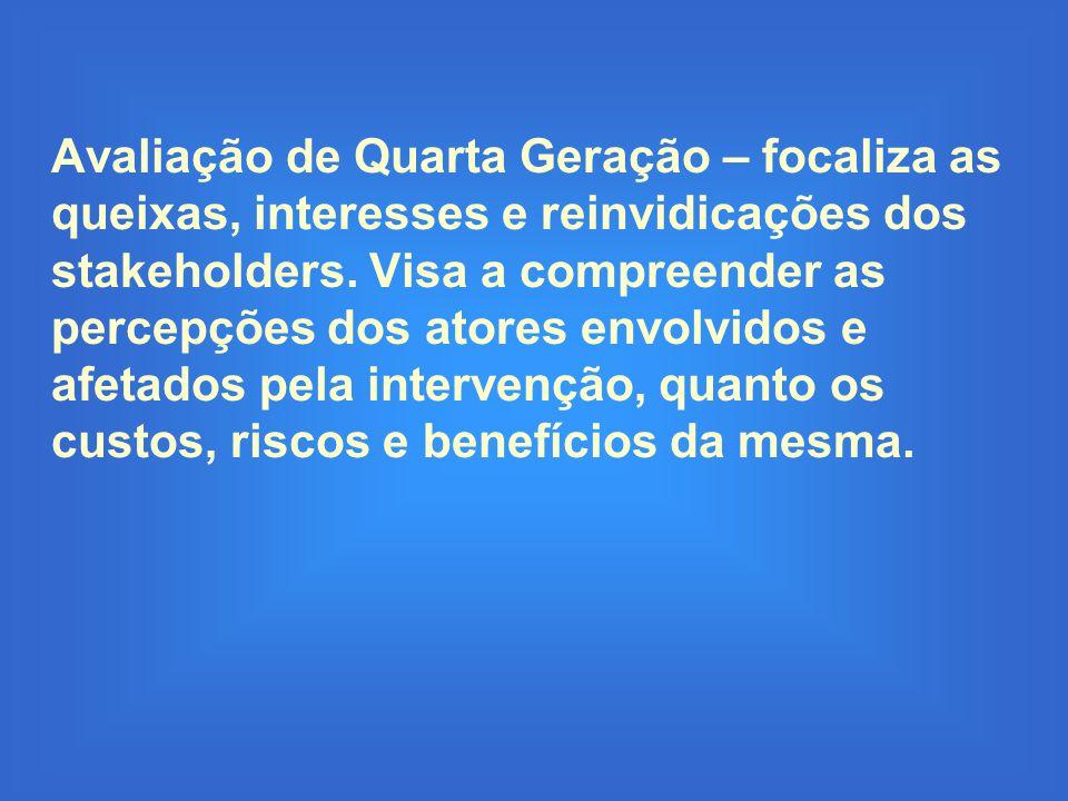 Avaliação de Quarta Geração – focaliza as queixas, interesses e reinvidicações dos stakeholders.